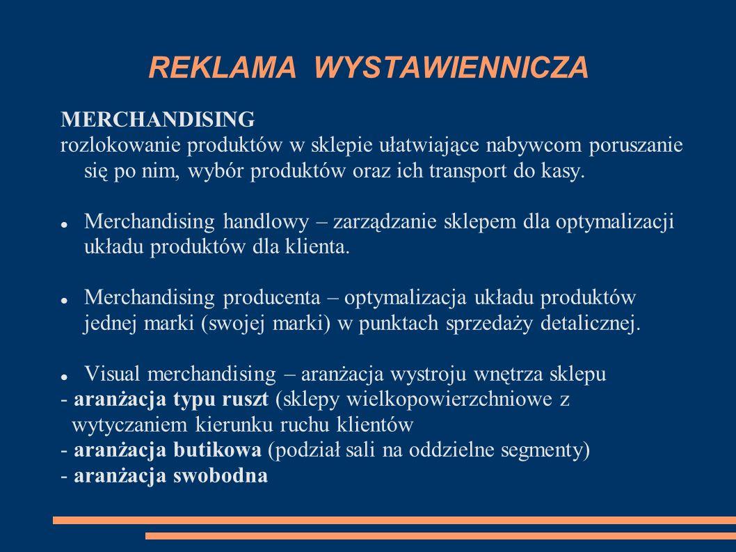 REKLAMA WYSTAWIENNICZA MERCHANDISING rozlokowanie produktów w sklepie ułatwiające nabywcom poruszanie się po nim, wybór produktów oraz ich transport do kasy.