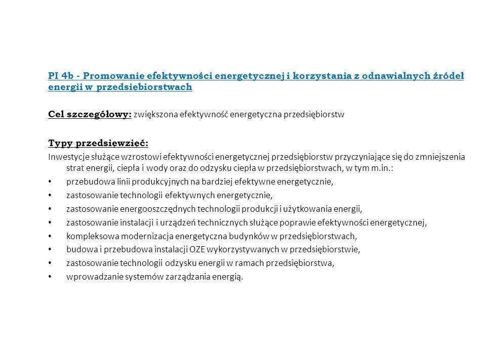 PI 4b - Promowanie efektywności energetycznej i korzystania z odnawialnych źródeł energii w przedsiębiorstwach Cel szczegółowy: zwiększona efektywność