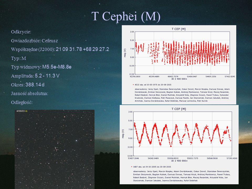 T Cephei (M) Odkrycie: Gwiazdozbiór: Cefeusz Współrzędne (J2000): 21 09 31.78 +68 29 27.2 Typ: M Typ widmowy: M5.5e-M8.8e Amplituda: 5.2 - 11.3 V Okre
