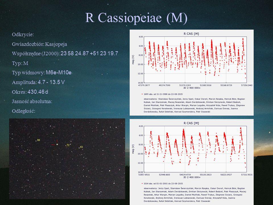 R Cassiopeiae (M) Odkrycie: Gwiazdozbiór: Kasjopeja Współrzędne (J2000): 23 58 24.87 +51 23 19.7 Typ: M Typ widmowy: M6e-M10e Amplituda: 4.7 - 13.5 V