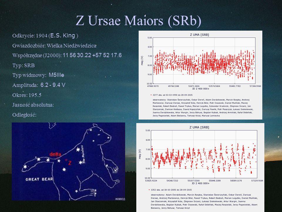 Z Ursae Maiors (SRb) Odkrycie: 1904 ( E.S. King ) Gwiazdozbiór: Wielka Niedźwiedzica Współrzędne (J2000): 11 56 30.22 +57 52 17.6 Typ: SRB Typ widmowy