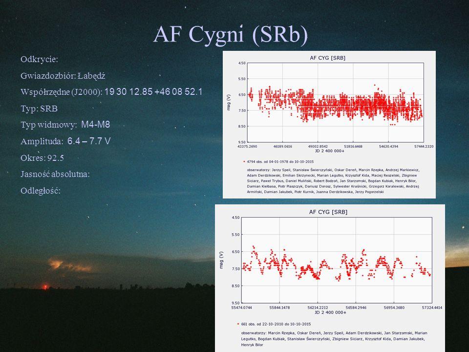 AF Cygni (SRb) Odkrycie: Gwiazdozbiór: Łabędź Współrzędne (J2000): 19 30 12.85 +46 08 52.1 Typ: SRB Typ widmowy: M4-M8 Amplituda: 6.4 – 7.7 V Okres: 9