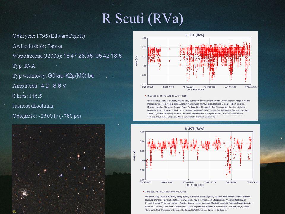 R Scuti (RVa) Odkrycie: 1795 (Edward Pigott) Gwiazdozbiór: Tarcza Współrzędne (J2000): 18 47 28.95 -05 42 18.5 Typ: RVA Typ widmowy: G0Iae-K2p(M3)Ibe