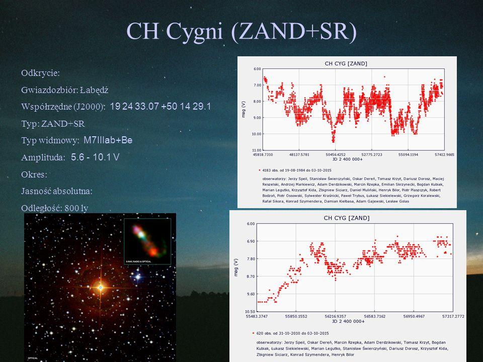 CH Cygni (ZAND+SR) Odkrycie: Gwiazdozbiór: Łabędź Współrzędne (J2000): 19 24 33.07 +50 14 29.1 Typ: ZAND+SR Typ widmowy: M7IIIab+Be Amplituda: 5.6 - 1