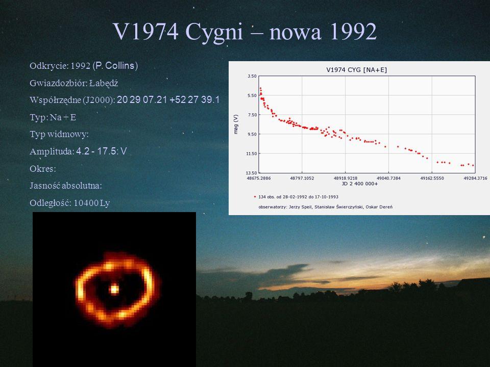 V1974 Cygni – nowa 1992 Odkrycie: 1992 (P. Collins) Gwiazdozbiór: Łabędź Współrzędne (J2000): 20 29 07.21 +52 27 39.1 Typ: Na + E Typ widmowy: Amplitu