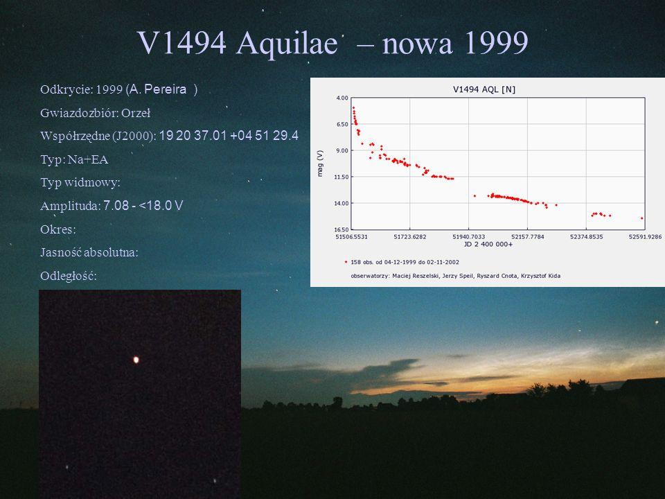 V1494 Aquilae – nowa 1999 Odkrycie: 1999 (A. Pereira ) Gwiazdozbiór: Orzeł Współrzędne (J2000): 19 20 37.01 +04 51 29.4 Typ: Na+EA Typ widmowy: Amplit