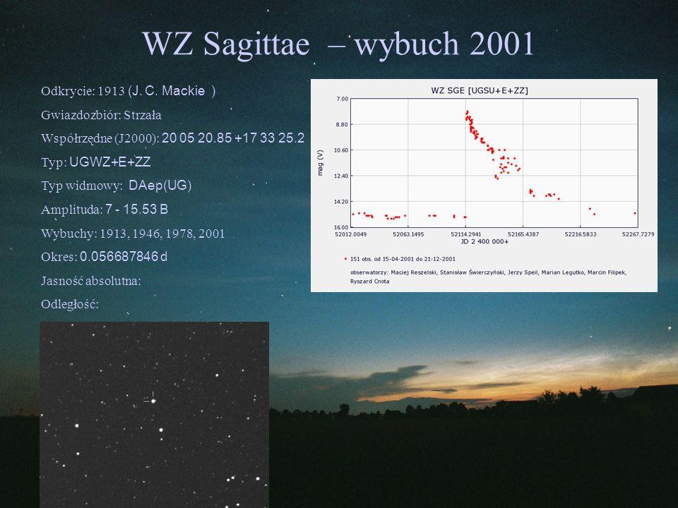 WZ Sagittae – wybuch 2001 Odkrycie: 1913 (J. C. Mackie ) Gwiazdozbiór: Strzała Współrzędne (J2000): 20 05 20.85 +17 33 25.2 Typ: UGWZ+E+ZZ Typ widmowy