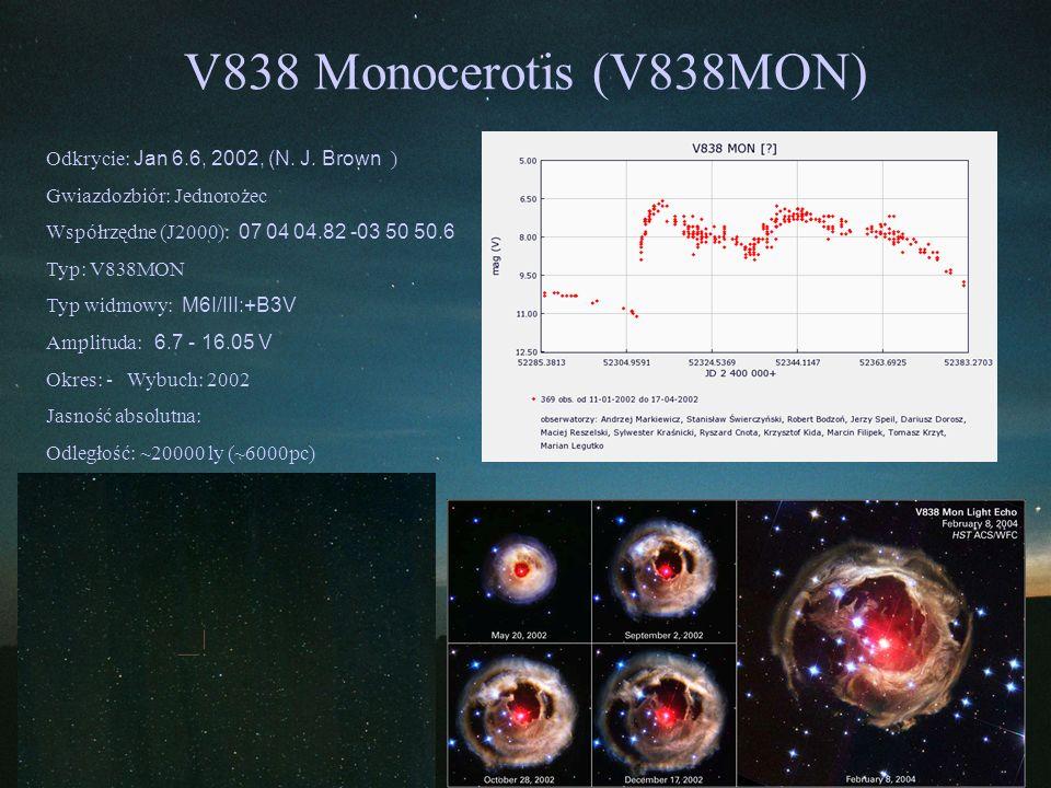 V838 Monocerotis (V838MON) Odkrycie: Jan 6.6, 2002, (N. J. Brown ) Gwiazdozbiór: Jednorożec Współrzędne (J2000): 07 04 04.82 -03 50 50.6 Typ: V838MON