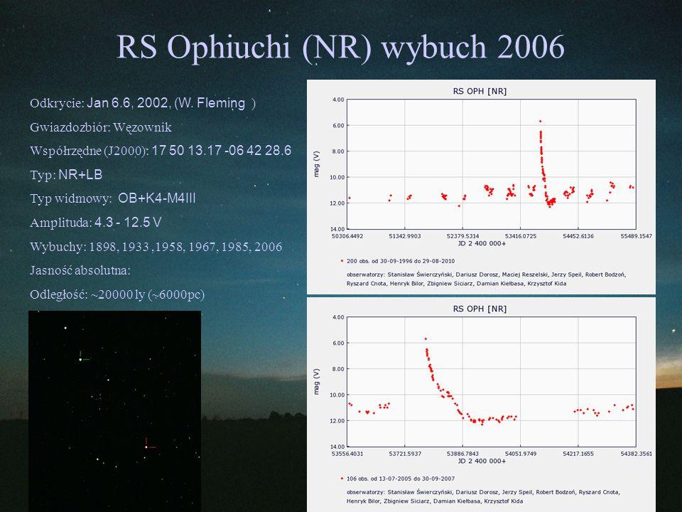 RS Ophiuchi (NR) wybuch 2006 Odkrycie: Jan 6.6, 2002, (W. Fleming ) Gwiazdozbiór: Węzownik Współrzędne (J2000): 17 50 13.17 -06 42 28.6 Typ: NR+LB Typ
