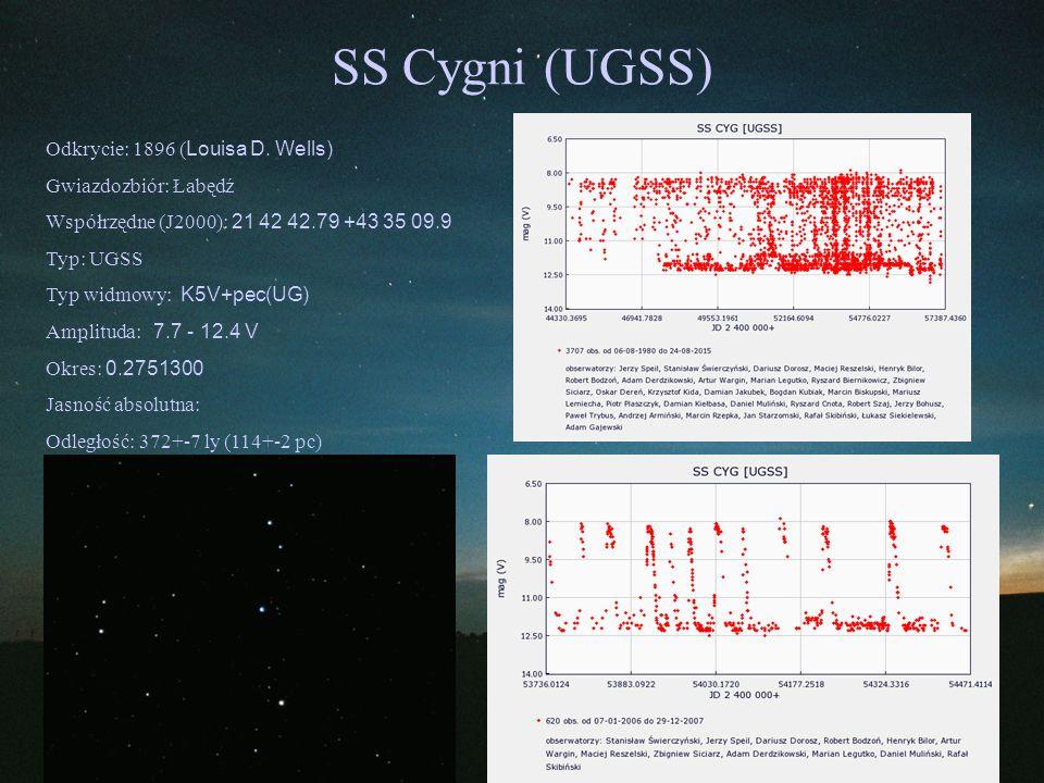 SS Cygni (UGSS) Odkrycie: 1896 ( Louisa D. Wells) Gwiazdozbiór: Łabędź Współrzędne (J2000): 21 42 42.79 +43 35 09.9 Typ: UGSS Typ widmowy: K5V+pec(UG)