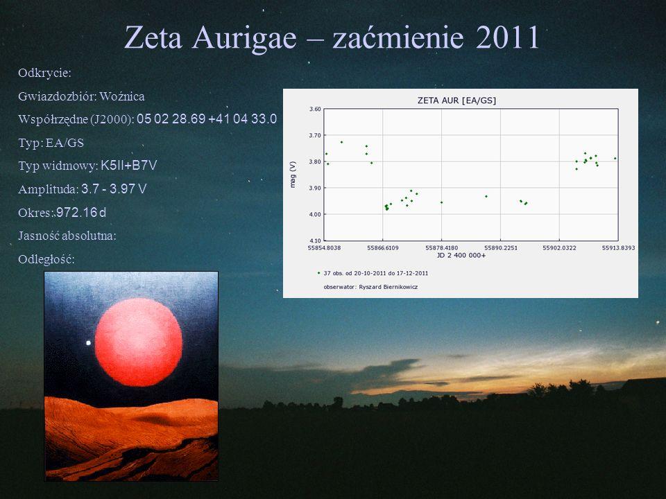 Zeta Aurigae – zaćmienie 2011 Odkrycie: Gwiazdozbiór: Woźnica Współrzędne (J2000): 05 02 28.69 +41 04 33.0 Typ: EA/GS Typ widmowy: K5II+B7V Amplituda: