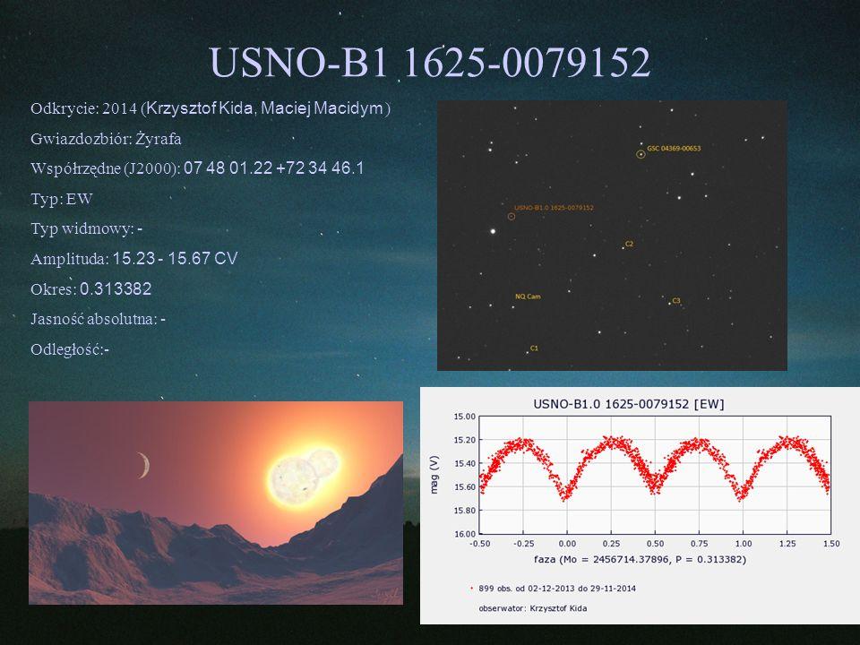 USNO-B1 1625-0079152 Odkrycie: 2014 ( Krzysztof Kida, Maciej Macidym ) Gwiazdozbiór: Żyrafa Współrzędne (J2000): 07 48 01.22 +72 34 46.1 Typ: EW Typ w