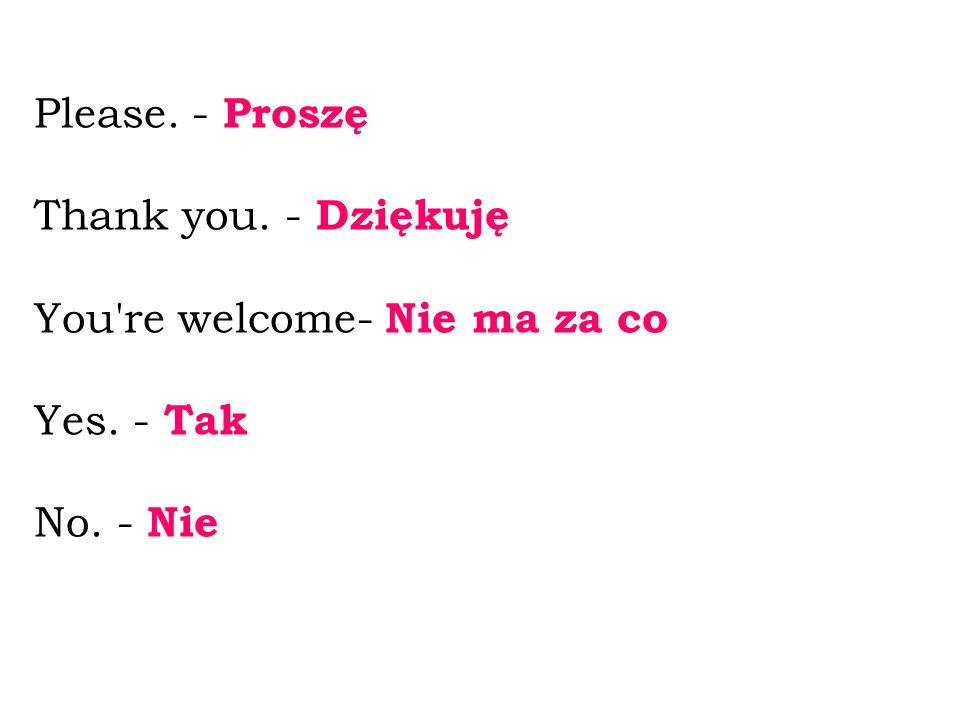Please. - Proszę Thank you. - Dziękuję You re welcome- Nie ma za co Yes. - Tak No. - Nie