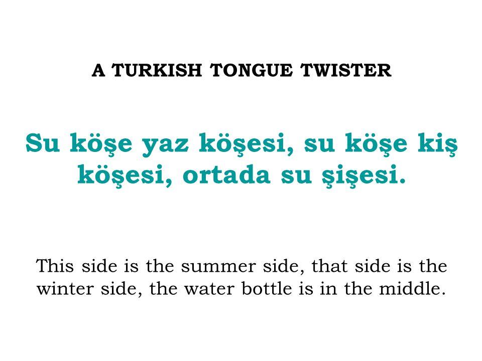 A TURKISH TONGUE TWISTER Su köşe yaz köşesi, su köşe kiş köşesi, ortada su şişesi. This side is the summer side, that side is the winter side, the wat