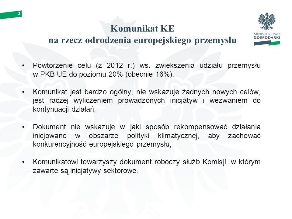 3 Komunikat KE na rzecz odrodzenia europejskiego przemysłu Powtórzenie celu (z 2012 r.) ws.