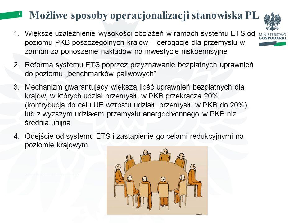"""7 Możliwe sposoby operacjonalizacji stanowiska PL 7 1.Większe uzależnienie wysokości obciążeń w ramach systemu ETS od poziomu PKB poszczególnych krajów – derogacje dla przemysłu w zamian za ponoszenie nakładów na inwestycje niskoemisyjne 2.Reforma systemu ETS poprzez przyznawanie bezpłatnych uprawnień do poziomu """"benchmarków paliwowych 3.Mechanizm gwarantujący większą ilość uprawnień bezpłatnych dla krajów, w których udział przemysłu w PKB przekracza 20% (kontrybucja do celu UE wzrostu udziału przemysłu w PKB do 20%) lub z wyższym udziałem przemysłu energochłonnego w PKB niż średnia unijna 4.Odejście od systemu ETS i zastąpienie go celami redukcyjnymi na poziomie krajowym"""