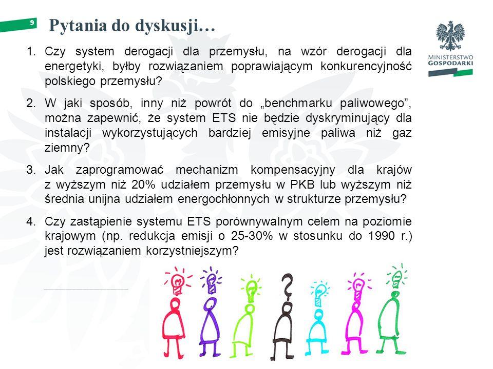 9 Pytania do dyskusji… 9 1.Czy system derogacji dla przemysłu, na wzór derogacji dla energetyki, byłby rozwiązaniem poprawiającym konkurencyjność polskiego przemysłu.