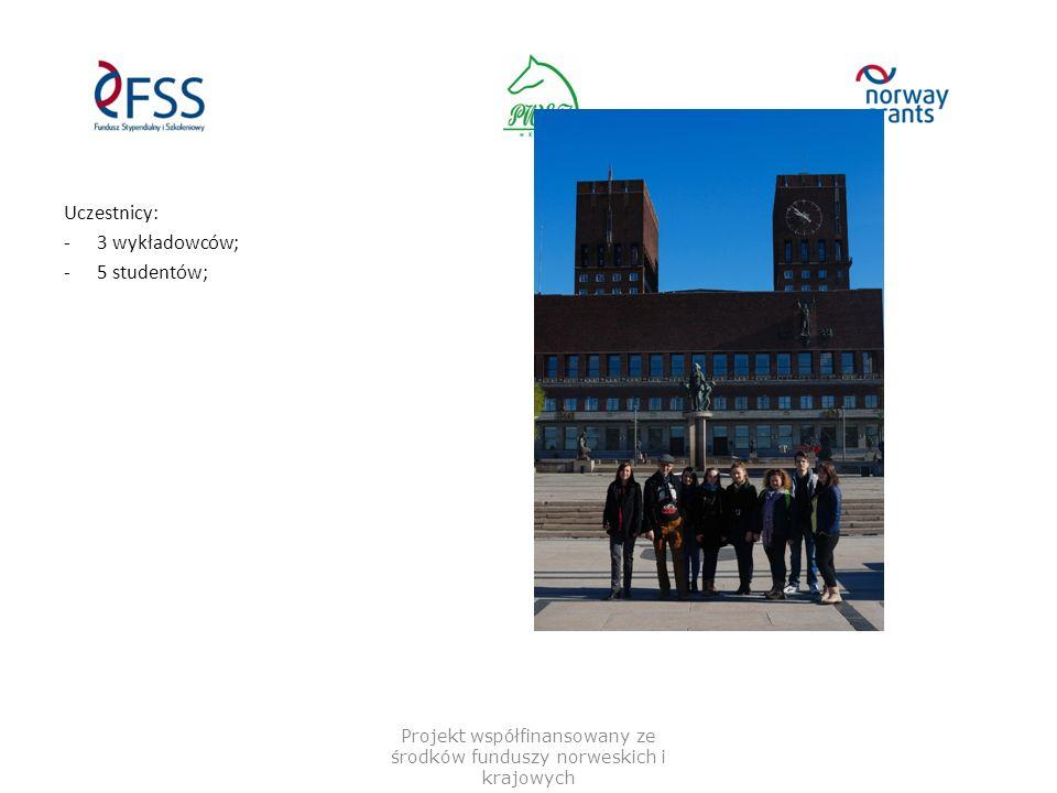Uczestnicy: -3 wykładowców; -5 studentów; Projekt współfinansowany ze środków funduszy norweskich i krajowych