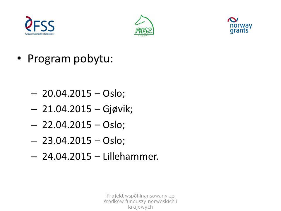 Program pobytu: – 20.04.2015 – Oslo; – 21.04.2015 – Gjøvik; – 22.04.2015 – Oslo; – 23.04.2015 – Oslo; – 24.04.2015 – Lillehammer. Projekt współfinanso