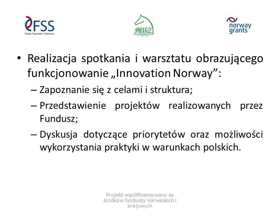 """Realizacja spotkania i warsztatu obrazującego funkcjonowanie """"Innovation Norway"""": – Zapoznanie się z celami i struktura; – Przedstawienie projektów re"""