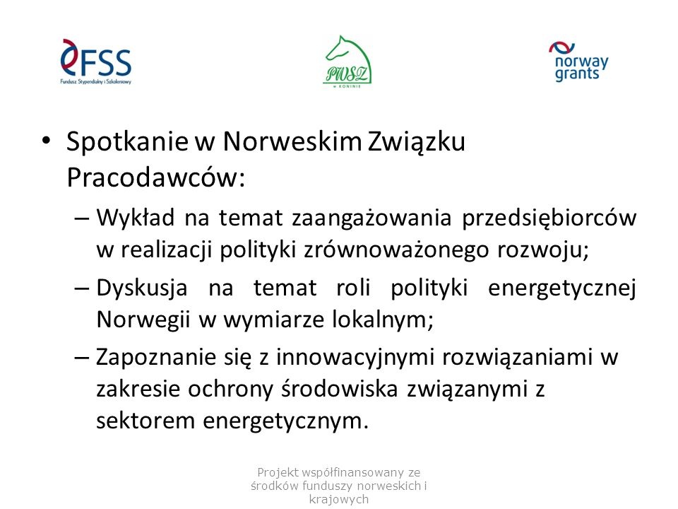 Spotkanie w Norweskim Związku Pracodawców: – Wykład na temat zaangażowania przedsiębiorców w realizacji polityki zrównoważonego rozwoju; – Dyskusja na