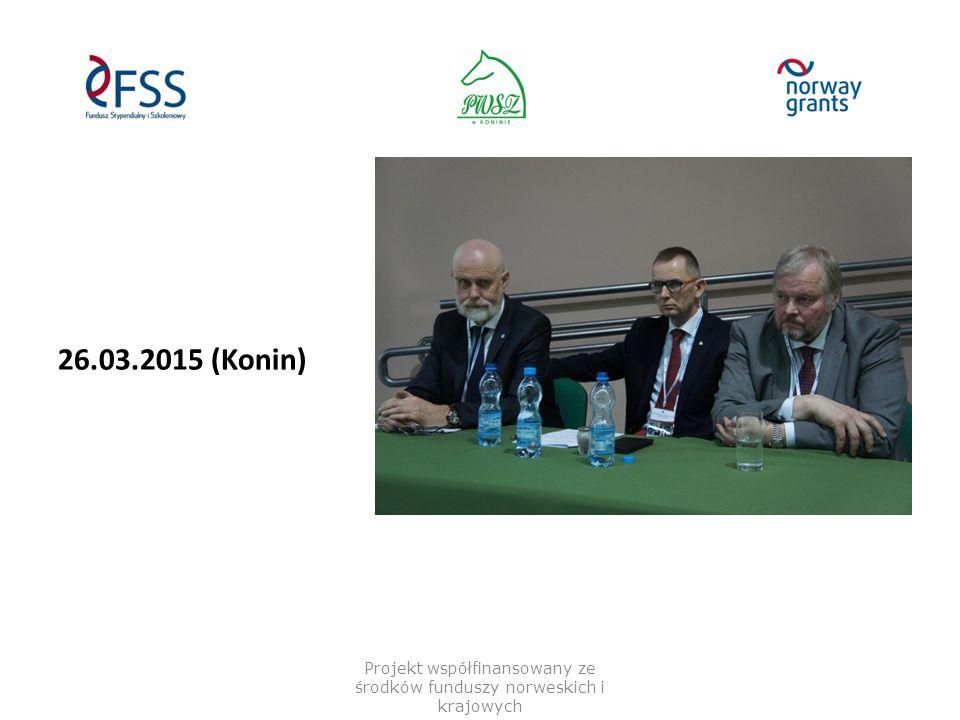"21.04.2015 – Gjøvik ""Høgskolen i Gjøvik-HiG Thorbjornem Skogsrotem; Tom Johnstad; Inge Moen; Jonny Nersveen Projekt współfinansowany ze środków funduszy norweskich i krajowych"