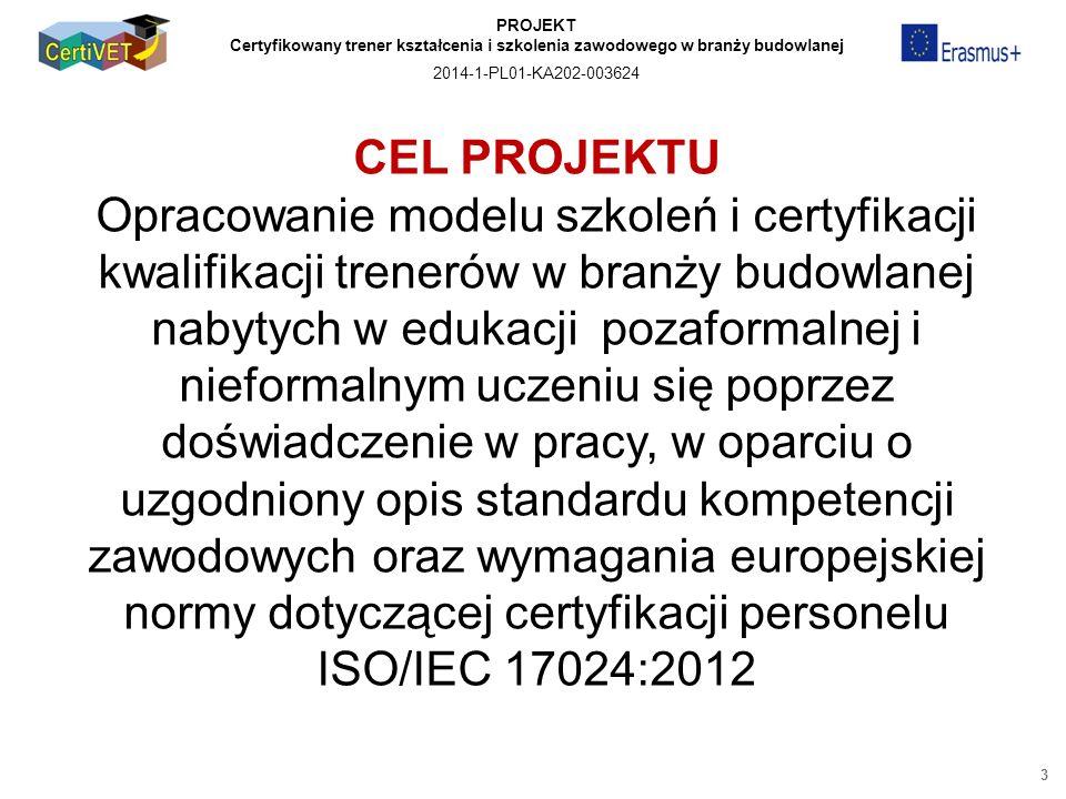 PROJEKT Certyfikowany trener kształcenia i szkolenia zawodowego w branży budowlanej 2014-1-PL01-KA202-003624 CEL PROJEKTU Opracowanie modelu szkoleń i certyfikacji kwalifikacji trenerów w branży budowlanej nabytych w edukacji pozaformalnej i nieformalnym uczeniu się poprzez doświadczenie w pracy, w oparciu o uzgodniony opis standardu kompetencji zawodowych oraz wymagania europejskiej normy dotyczącej certyfikacji personelu ISO/IEC 17024:2012 3