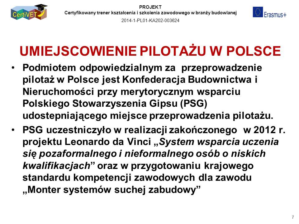 PROJEKT Certyfikowany trener kształcenia i szkolenia zawodowego w branży budowlanej 2014-1-PL01-KA202-003624 UMIEJSCOWIENIE PILOTAŻU W POLSCE Podmiotem odpowiedzialnym za przeprowadzenie pilotaż w Polsce jest Konfederacja Budownictwa i Nieruchomości przy merytorycznym wsparciu Polskiego Stowarzyszenia Gipsu (PSG) udostepniającego miejsce przeprowadzenia pilotażu.