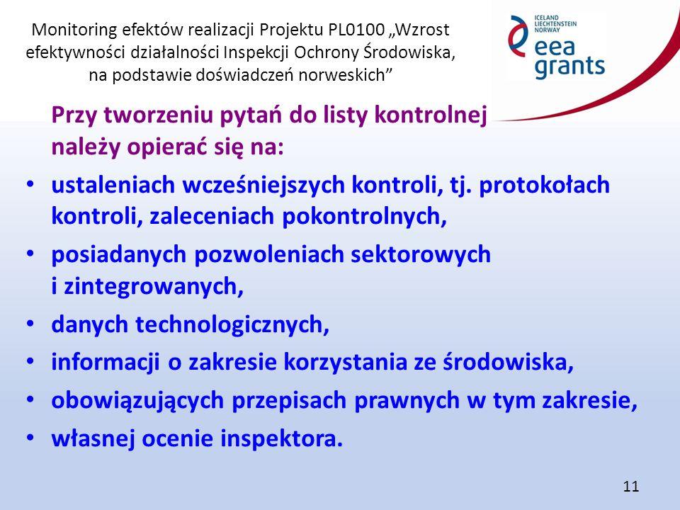 """Monitoring efektów realizacji Projektu PL0100 """"Wzrost efektywności działalności Inspekcji Ochrony Środowiska, na podstawie doświadczeń norweskich 11 Przy tworzeniu pytań do listy kontrolnej należy opierać się na: ustaleniach wcześniejszych kontroli, tj."""