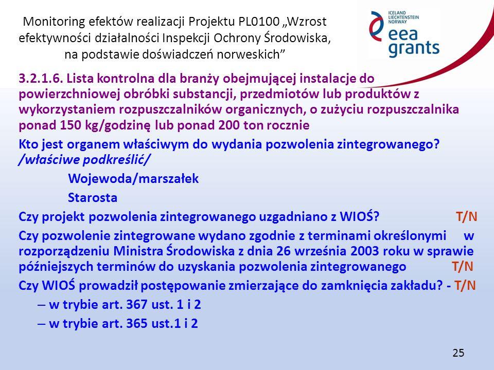 """Monitoring efektów realizacji Projektu PL0100 """"Wzrost efektywności działalności Inspekcji Ochrony Środowiska, na podstawie doświadczeń norweskich 25 3.2.1.6."""