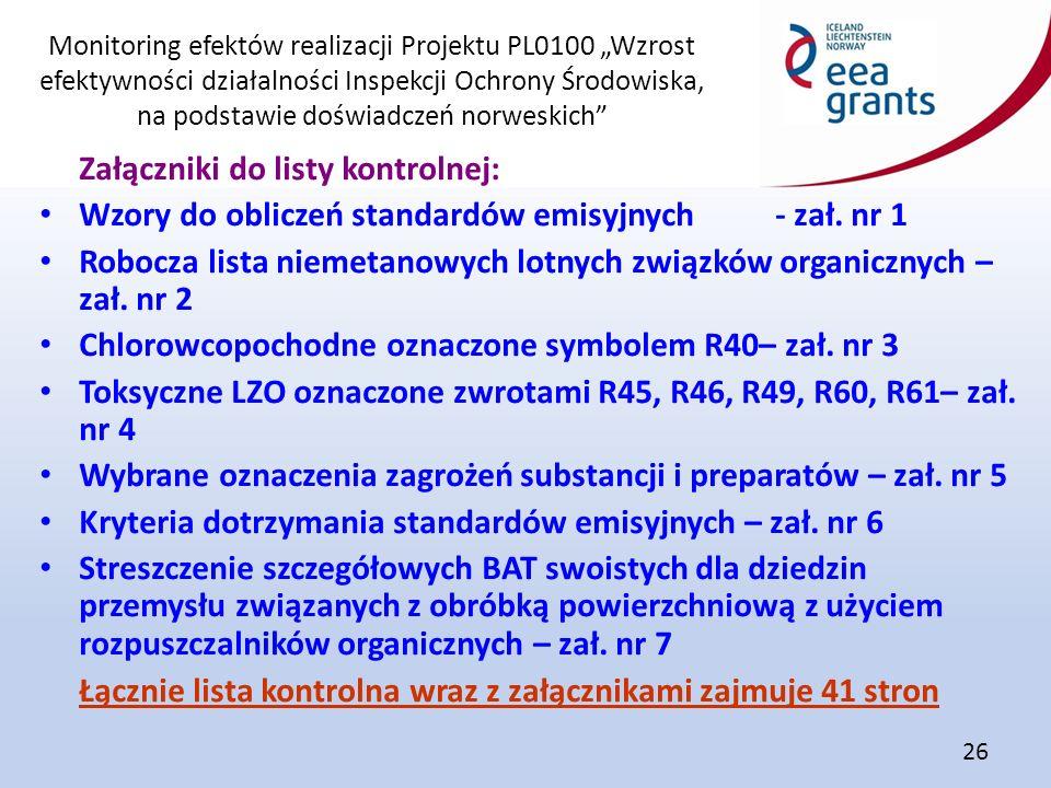 """Monitoring efektów realizacji Projektu PL0100 """"Wzrost efektywności działalności Inspekcji Ochrony Środowiska, na podstawie doświadczeń norweskich"""" 26"""