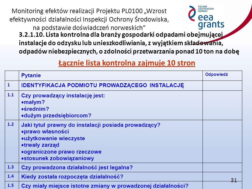 """Monitoring efektów realizacji Projektu PL0100 """"Wzrost efektywności działalności Inspekcji Ochrony Środowiska, na podstawie doświadczeń norweskich"""" 31"""