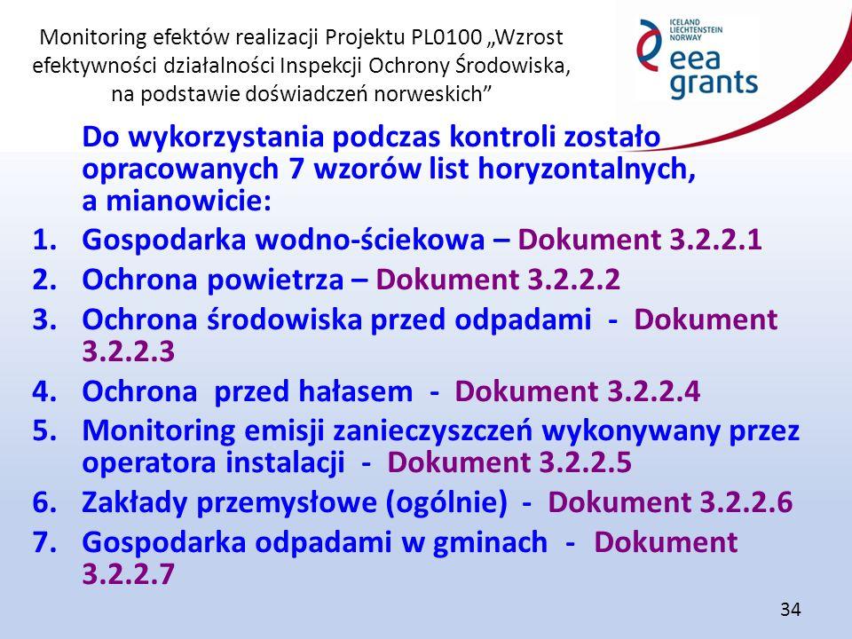 """Monitoring efektów realizacji Projektu PL0100 """"Wzrost efektywności działalności Inspekcji Ochrony Środowiska, na podstawie doświadczeń norweskich 34 Do wykorzystania podczas kontroli zostało opracowanych 7 wzorów list horyzontalnych, a mianowicie: 1.Gospodarka wodno-ściekowa – Dokument 3.2.2.1 2.Ochrona powietrza – Dokument 3.2.2.2 3.Ochrona środowiska przed odpadami - Dokument 3.2.2.3 4.Ochrona przed hałasem - Dokument 3.2.2.4 5.Monitoring emisji zanieczyszczeń wykonywany przez operatora instalacji - Dokument 3.2.2.5 6.Zakłady przemysłowe (ogólnie) - Dokument 3.2.2.6 7.Gospodarka odpadami w gminach - Dokument 3.2.2.7"""