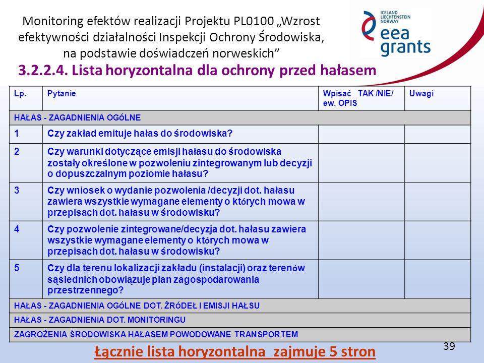 """Monitoring efektów realizacji Projektu PL0100 """"Wzrost efektywności działalności Inspekcji Ochrony Środowiska, na podstawie doświadczeń norweskich 39 3.2.2.4."""