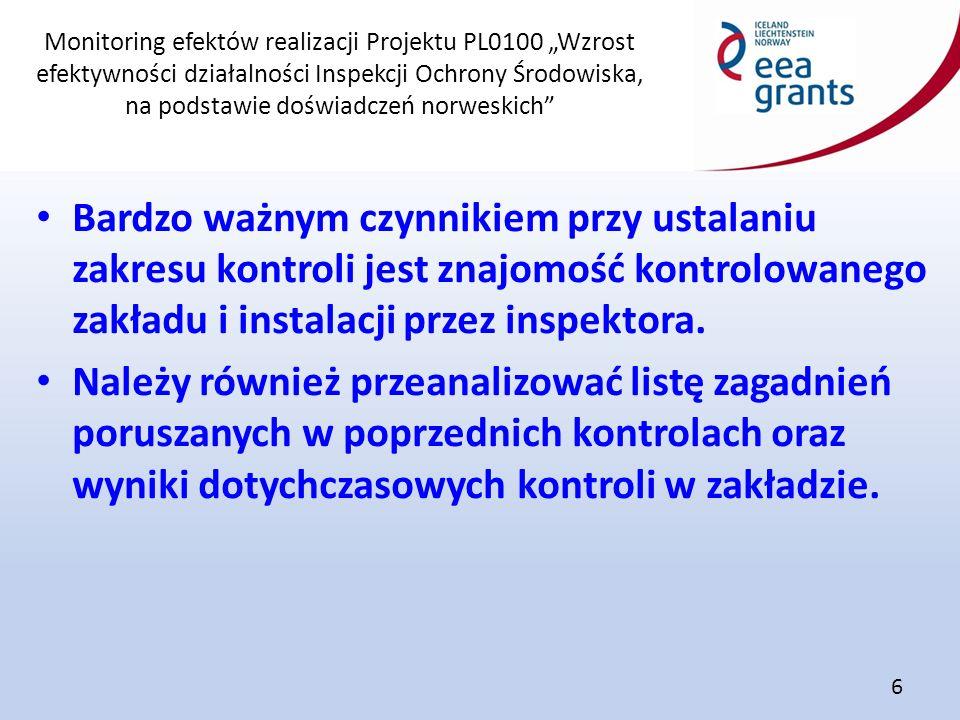"""Monitoring efektów realizacji Projektu PL0100 """"Wzrost efektywności działalności Inspekcji Ochrony Środowiska, na podstawie doświadczeń norweskich"""" 6 B"""