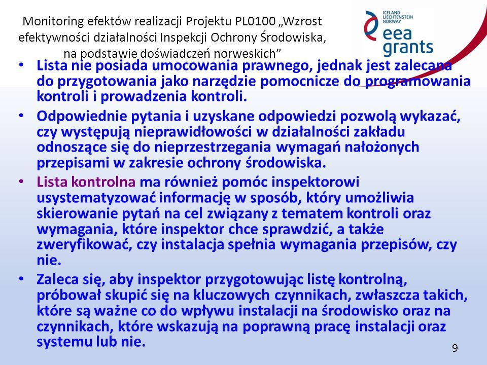 """Monitoring efektów realizacji Projektu PL0100 """"Wzrost efektywności działalności Inspekcji Ochrony Środowiska, na podstawie doświadczeń norweskich 9 Lista nie posiada umocowania prawnego, jednak jest zalecana do przygotowania jako narzędzie pomocnicze do programowania kontroli i prowadzenia kontroli."""
