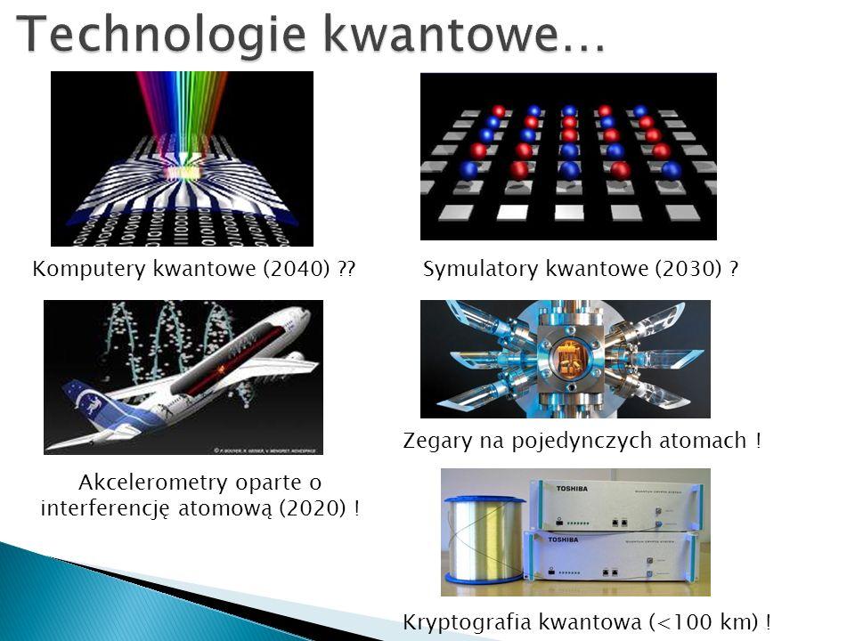 Kryptografia kwantowa (<100 km) . Komputery kwantowe (2040) ??Symulatory kwantowe (2030) .