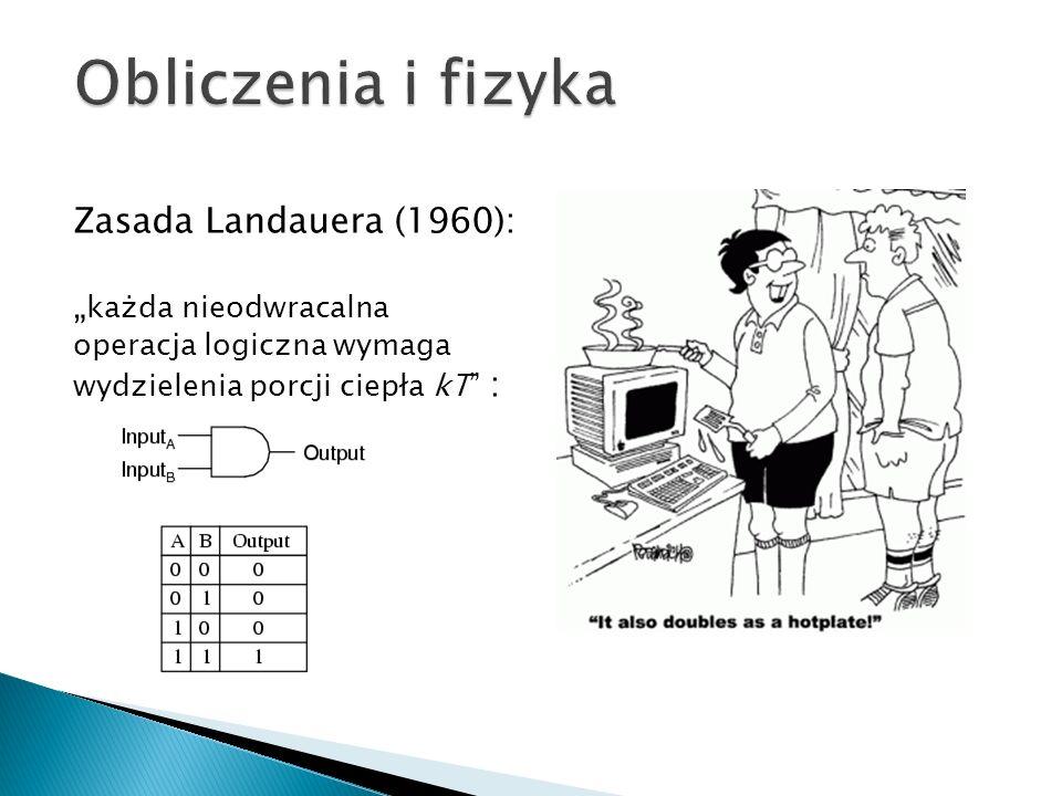 """Zasada Landauera (1960): """" każda nieodwracalna operacja logiczna wymaga wydzielenia porcji ciepła kT :"""