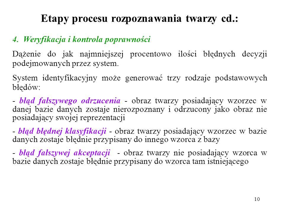 10 Etapy procesu rozpoznawania twarzy cd.: 4.