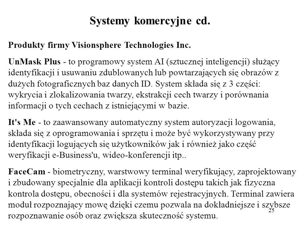 25 Systemy komercyjne cd.Produkty firmy Visionsphere Technologies Inc.
