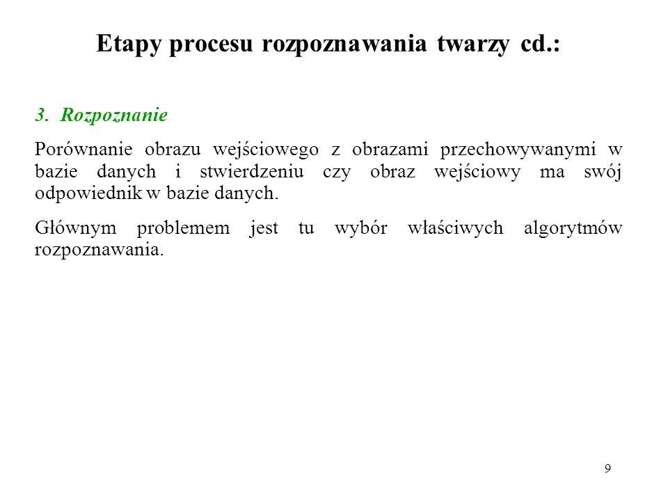 9 Etapy procesu rozpoznawania twarzy cd.: 3.