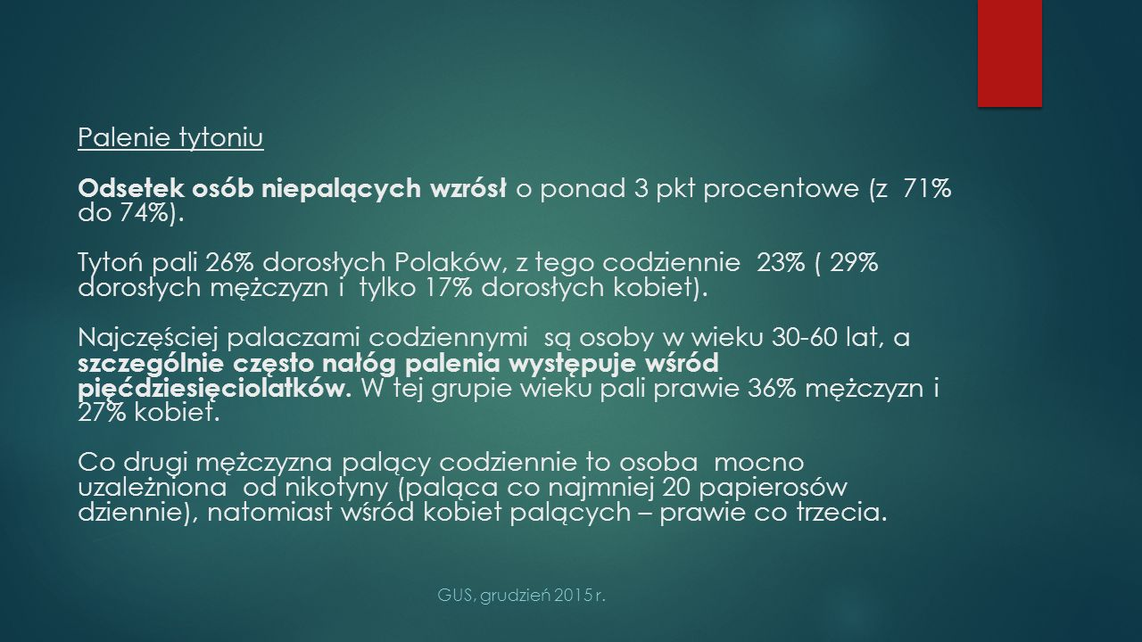 Palenie tytoniu Odsetek osób niepalących wzrósł o ponad 3 pkt procentowe (z 71% do 74%).