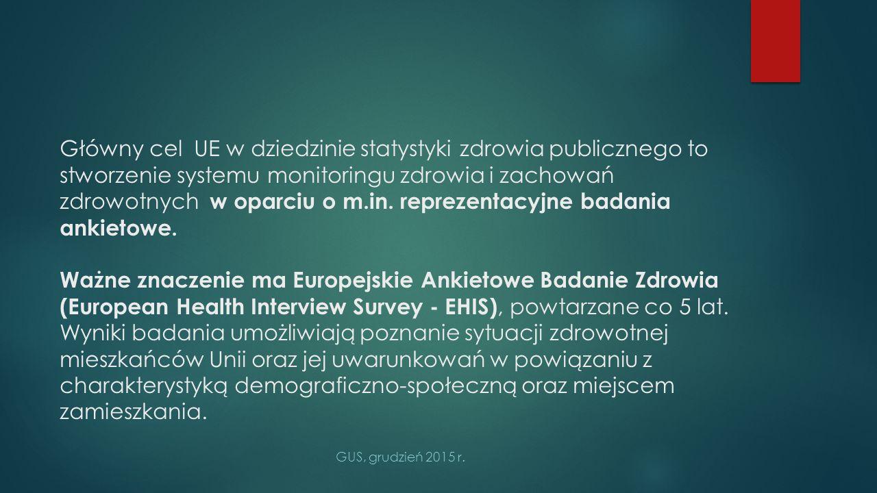 Reprezentacyjne ankietowe badanie zdrowia ludności Polski GUS przeprowadził już czterokrotnie: - 2 krajowe badania w 1996 i 2004 r.