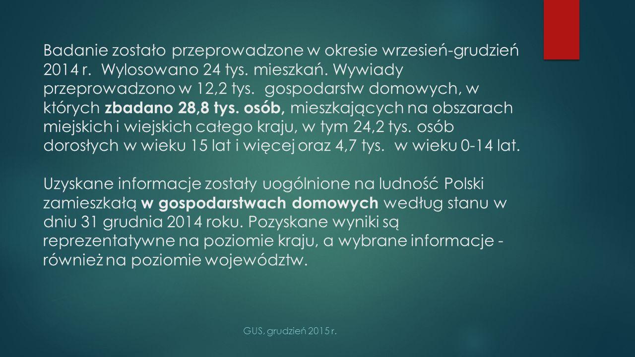 Europejskie Ankietowe Badanie Zdrowia (EHIS) 2014 objęło 4 obszary tematyczne:stan zdrowia (samoocena stanu zdrowia, choroby przewlekłe, ograniczenia w funkcjonowaniu i ich wpływ na życie codzienne, wypadki, samopoczucie psychiczne),opieka zdrowotna (korzystanie z opieki medycznej, stosowanie leków, profilaktyka),determinanty zdrowia (głównie styl życia),charakterystyka demograficzno-społeczna osób i gospodarstw domowych.