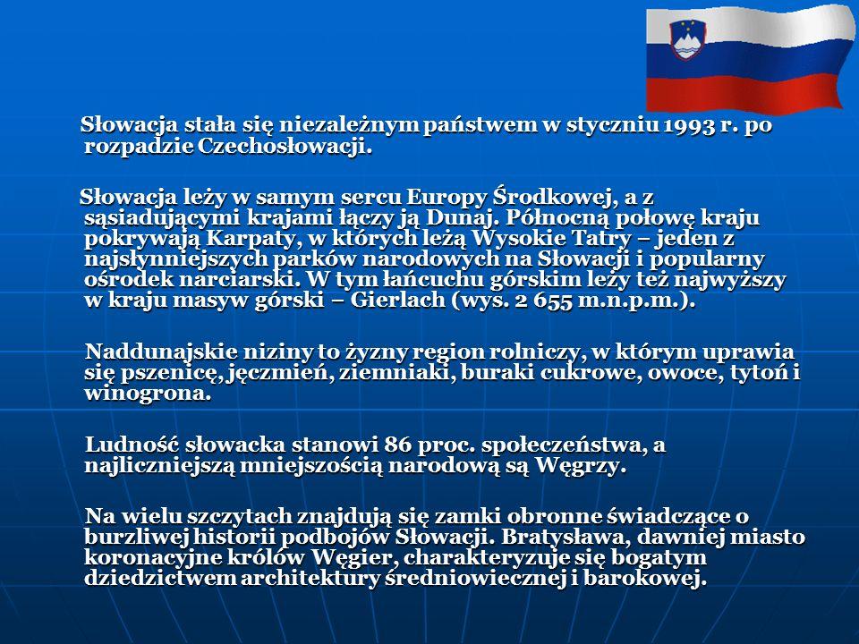 Słowacja stała się niezależnym państwem w styczniu 1993 r.