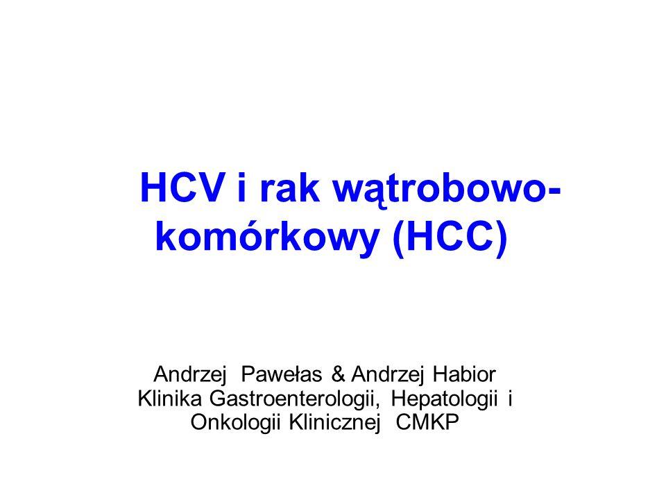 HCC u zakażonych HCV  HCV – RNA wirus, rodzina Flaviwirusów  kancerogen  zapalenie, włóknienie, regeneracja, marskość, rak ryzyko HCC 20 x > populacja zdrowych rocznie HCC powstaje u 3% - 8% chorych z marskością HCV