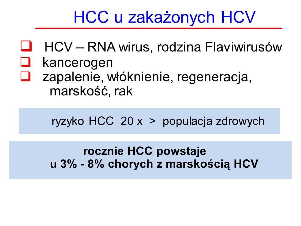 HCC u zakażonych HCV  HCV – RNA wirus, rodzina Flaviwirusów  kancerogen  zapalenie, włóknienie, regeneracja, marskość, rak ryzyko HCC 20 x > popula