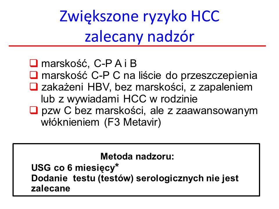 Zwiększone ryzyko HCC zalecany nadzór  marskość, C-P A i B  marskość C-P C na liście do przeszczepienia  zakażeni HBV, bez marskości, z zapaleniem