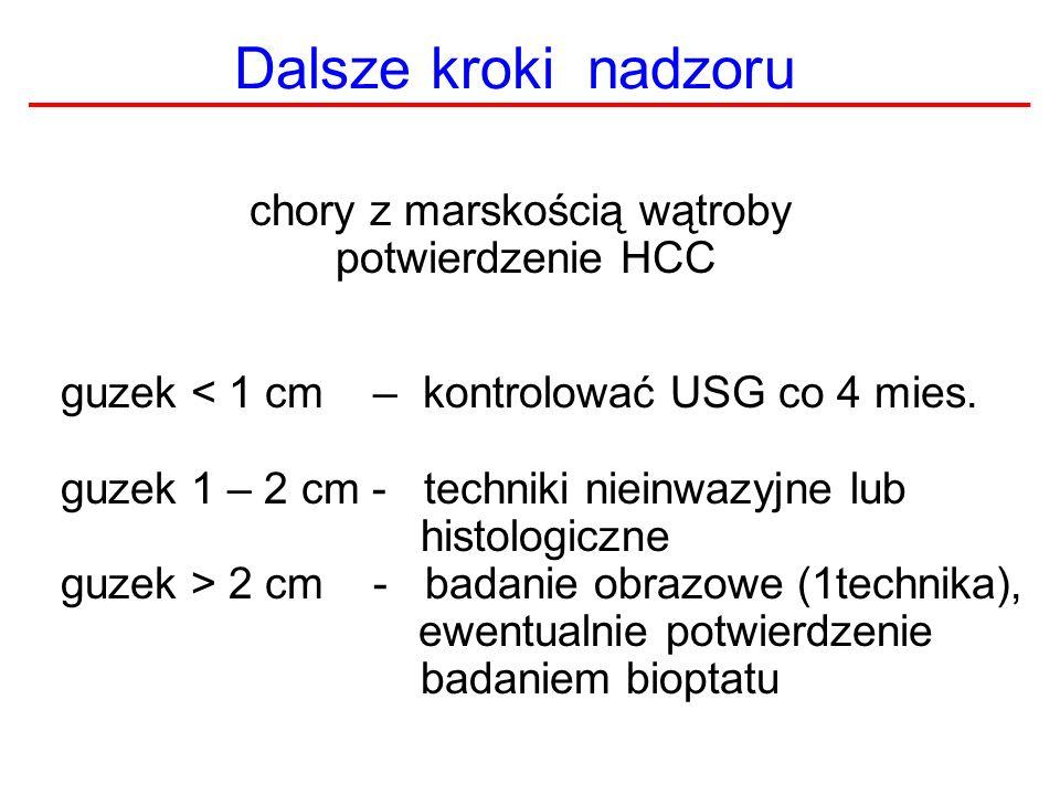 Dalsze kroki nadzoru chory z marskością wątroby potwierdzenie HCC guzek < 1 cm – kontrolować USG co 4 mies. guzek 1 – 2 cm - techniki nieinwazyjne lub