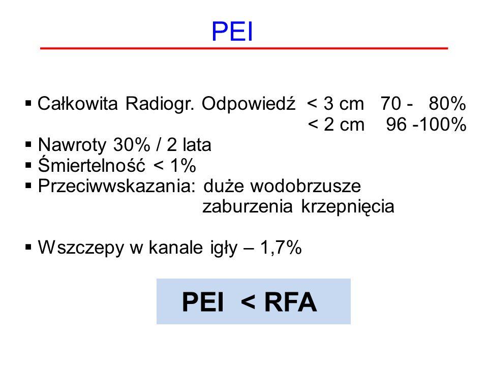 PEI  Całkowita Radiogr. Odpowiedź < 3 cm 70 - 80% < 2 cm 96 -100%  Nawroty 30% / 2 lata  Śmiertelność < 1%  Przeciwwskazania: duże wodobrzusze zab